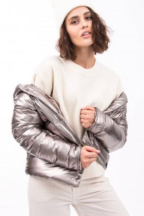 Daunensteppjacke in Metallic Silber