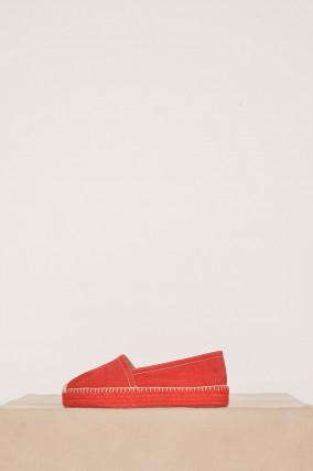 Espadrille aus Veloursleder in Rot
