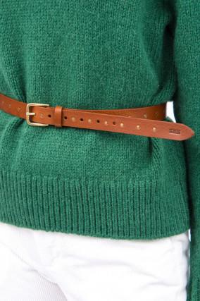 Ledergürtel mit Nieten-Details in Cognac