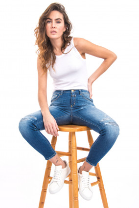 Jeans BAKER mit Destroyed-Look in Mittelblau