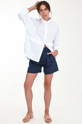 Shorts mit Faltenlegung in Navy