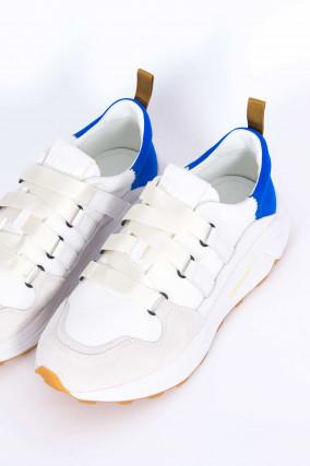 Sneaker mit Kontrast-Ferse in Weiß/Blau