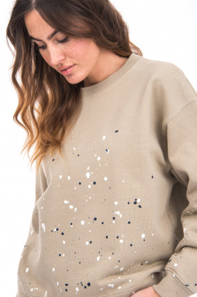 Sweater mit Colour-Splash-Design in Sand