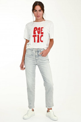 T-Shirt mit Frontprint in Weiß