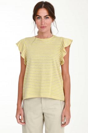Kurzarm Streifen-Shirt in Gelb/Beige