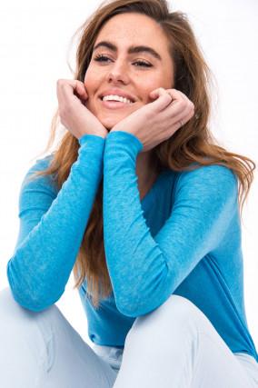 Langarmshirt aus Lyocell-Woll-Mix in Blau