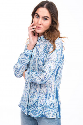 Paisley Bluse in Blau/Weiß