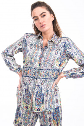 Seidenbluse mit Paisley-Musterung in Multicolor