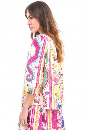 Ethno-Bluse in Multicolor