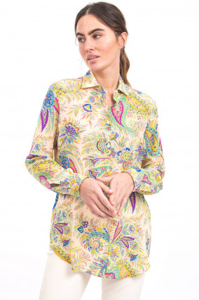 Paisley-Bluse aus Seide in Multicolor