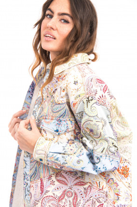 Denim Hemdjacke mit Paisley-Print in Multicolor