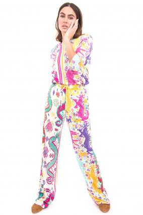Sportive Hose im Ethno-Stil in Multicolor