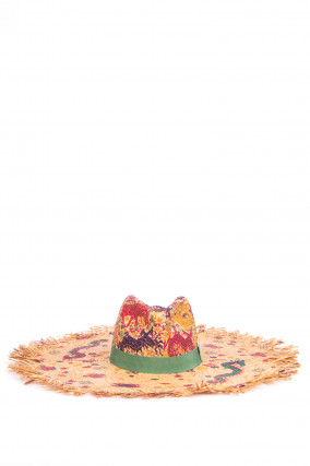 Maxi-Strohhut mit Musterung in Beige