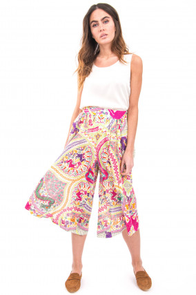 Culotte im Ethno-Print in Multicolor