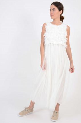 Kleid mit Federn in Weiß
