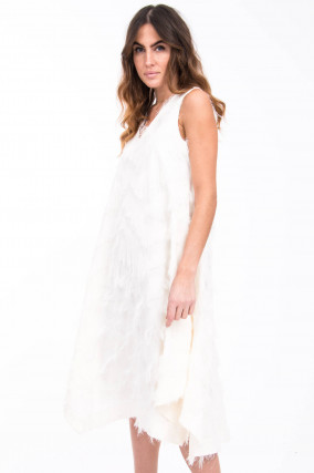 Fransen-Kleid in Weiß