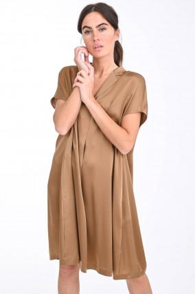 Kleid mit kurzem Reverskragen in Goldbraun