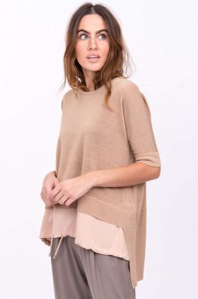 Hochwertiges Leinenshirt in Camel/Rose