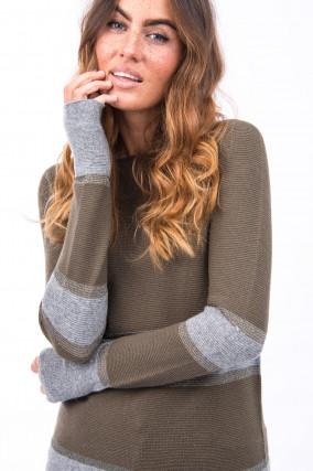 Pullover mit Streifen-Details in Khaki/Grau