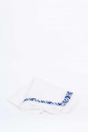 Tuch JOY mit Perlenbesatz in Weiß/Blau