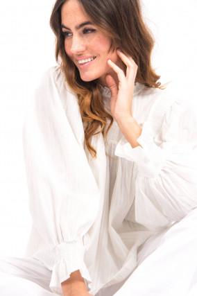 Bluse mit gesmokten Details in Weiß
