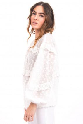Bluse mit Fil-Coupé in Weiß