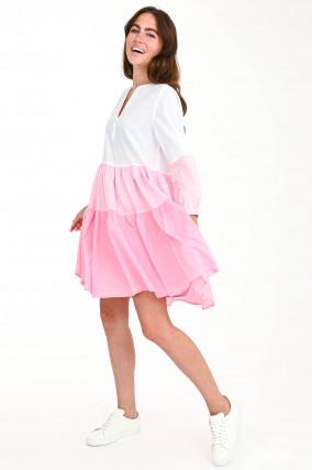 Volantkleid mit Farbverlauf in Weiß/Rosa