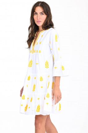 Tunikakleid mit floralem-Design in Weiß/Gelb