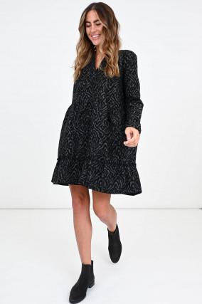 Kleid im Animal-Design in Oliv/Schwarz