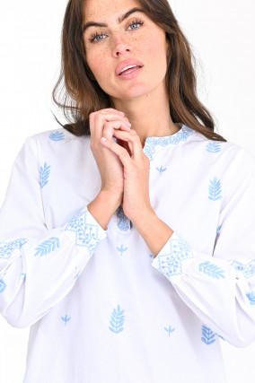 Tunikabluse mit floraler Stickerei in Weiß/Blau