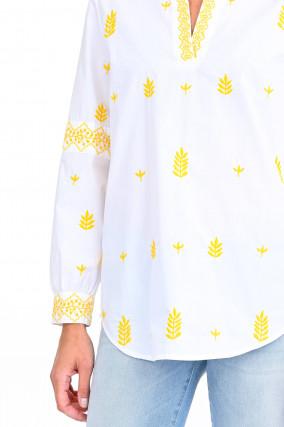 Tunikabluse mit floraler Stickerei in Weiß/Gelb