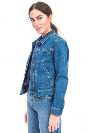 Jeansjacke mit aufgesetzten Taschen in Blau