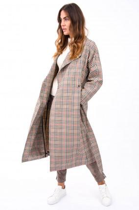 Mantel mit Karo Musterung in Beige/Navy/Rot