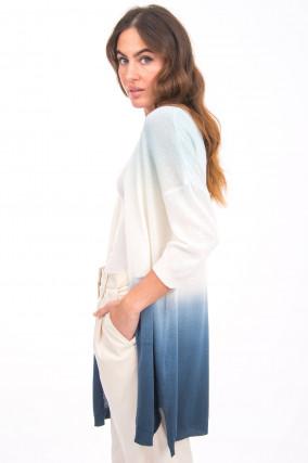 Strickcardigan mit Farbverlauf in Blau/Weiß