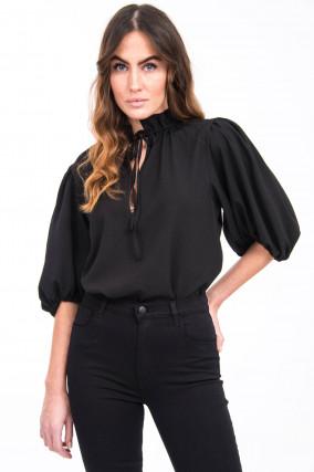 Bluse mit gerüschtem Stehkragen in Schwarz