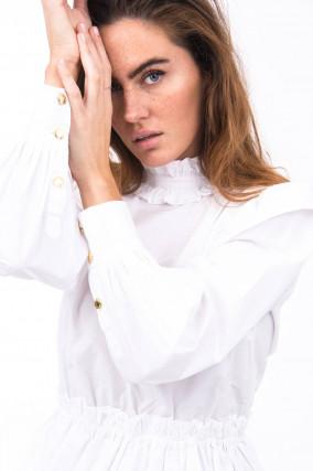 Verspielte Bluse in Weiß