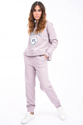 Sweatpants mit Logo-Stitching in Altrosa