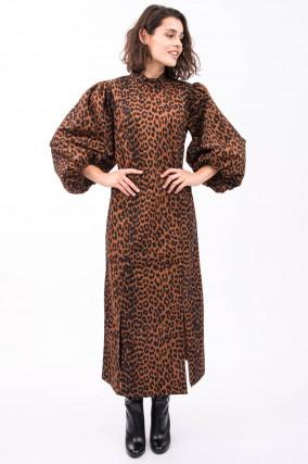 Maxi-Kleid mit Puffarm in Braun/Leo