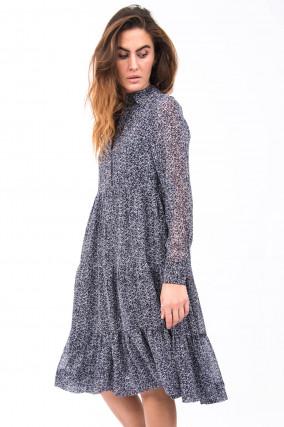 Kleid mit floralem Print in Navy/Weiß