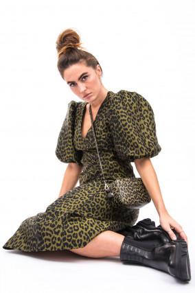 Kleid mit schmaler Silhouette in Oliv/Schwarz
