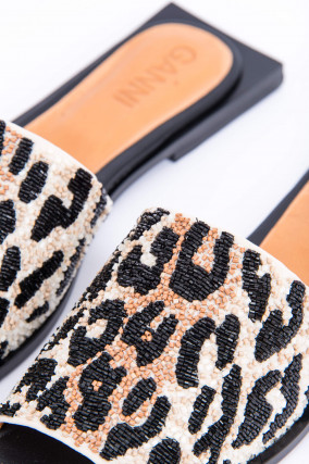 Slipper im Animal Print in Schwarz/Beige gemustert