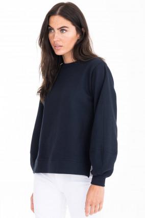 Sweater mit hohen Seitenschlitzen in Marine