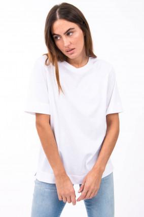 T-Shirt mit Label-Druck in Weiß