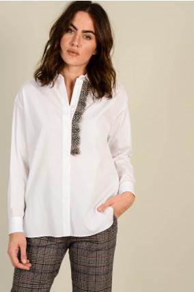 Bluse mit Federborte in Weiß