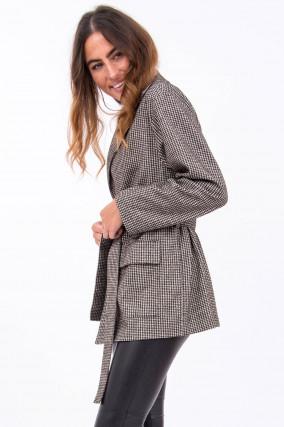 Jacke mit Gürtel aus Woll-Mix in Weiß/Schwarz