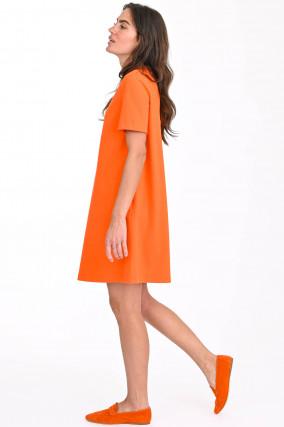 Jerseykleid mit Kurzarm in Orange
