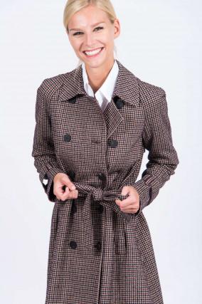 Doppelreihiger Mantel im Karo-Design