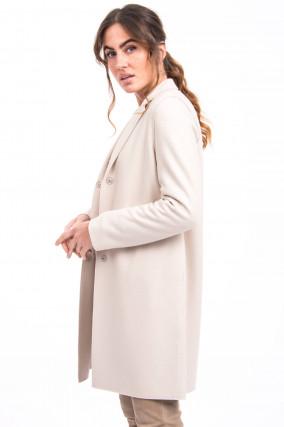 Leichter Mantel aus Schurwolle in Cream