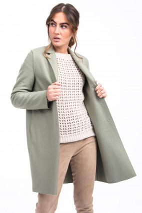 Leichter Mantel aus Schurwolle in Salbei