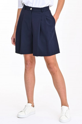 Shorts mit Faltenlegung in Navy
